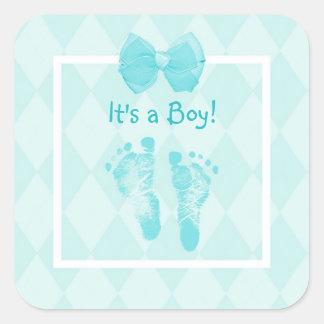 Cute Baby Boy Footprints Baby Shower Blue Ribbon Square Sticker