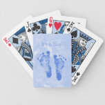 Cute Baby Boy Footprints Birth Announcement Bicycle Playing Cards