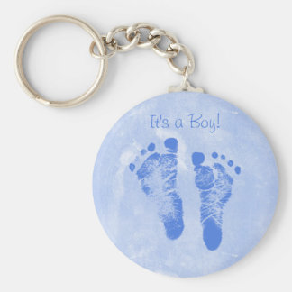 Cute Baby Boy Footprints Birth Announcement Keychain