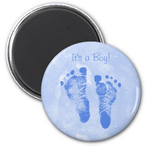 Cute Baby Boy Footprints Birth Announcement Fridge Magnets