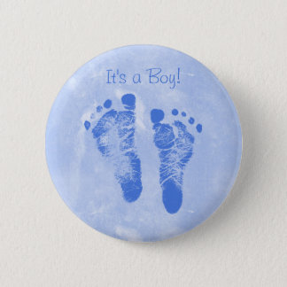 Cute Baby Boy Footprints Birth Announcement Pinback Button