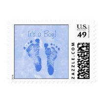 Cute Baby Boy Footprints Birth Announcement Postage