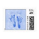 Cute Baby Boy Footprints Birth Announcement Postage Stamp