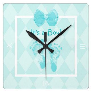 Cute Baby Boy Footprints Birth Announcement Square Wall Clock
