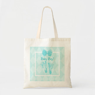 Cute Baby Boy Footprints Blue Ribbon Budget Tote Bag