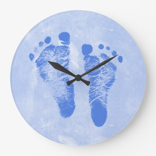 Cute Baby Boy Footprints Round Clock