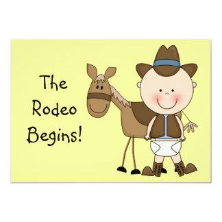 Cute Baby Boy & Horse Pony Custom Western Birth Card