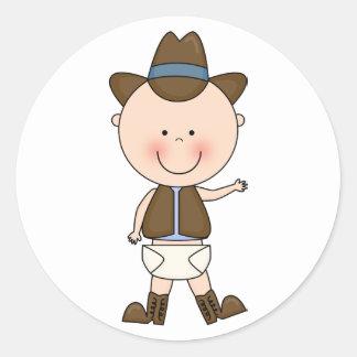Cute Baby Boy & Horse Pony Custom Western Classic Round Sticker
