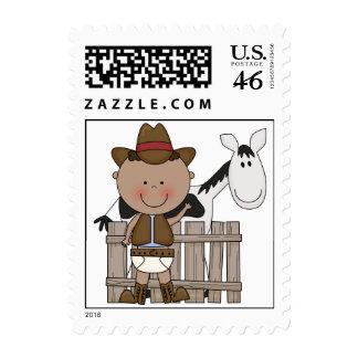 Cute Baby Boy & Horse Pony Custom Western Stamp