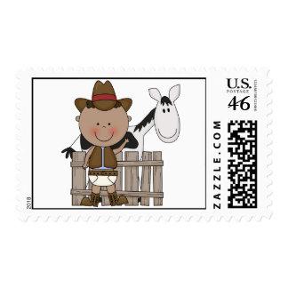 Cute Baby Boy & Horse Pony Custom Western Stamps