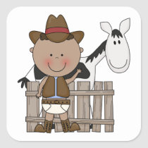 Cute Baby Boy & Horse Pony Custom Western Square Sticker