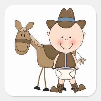 Cute Baby Boy & Horse Pony Custom Western Square Sticker