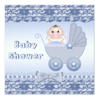 Cute Baby Boy in Blue Carriage Baby Shower Card