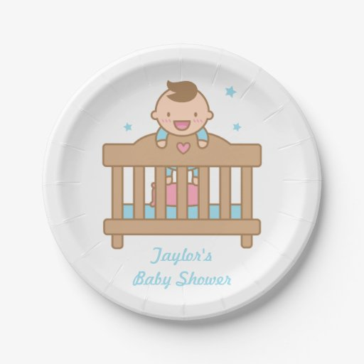 cute baby boy in cot baby shower party supplies paper plate zazzle