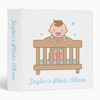 Cute Baby Boy in Cot Photo Album Binder