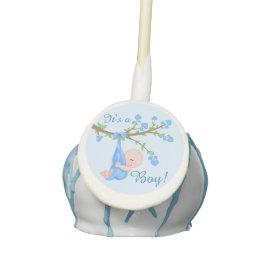 Cute Baby Boy in Tree Baby Shower Cake Pops