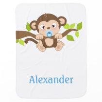 Cute Baby Boy Monkey Baby Blanket