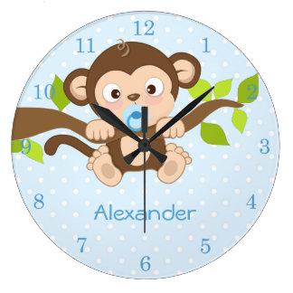 Cute Baby Boy Monkey Blue Polka Dots Wall Clocks