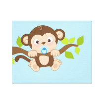 Cute Baby Boy Monkey Canvas Prints