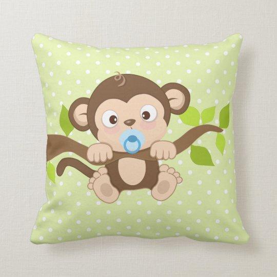 Marvelous Cute Baby Boy Monkey Green Polka Dots Throw Pillow Machost Co Dining Chair Design Ideas Machostcouk