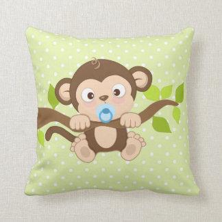 Cute Baby Boy Monkey Green Polka Dots Throw Pillow