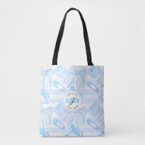 Cute Baby Boy Monogrammed Pattern Tote Bag