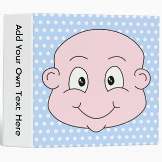 Cute Baby Boy, on blue polka dot pattern. 3 Ring Binder