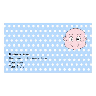 Cute Baby Boy, on blue polka dot pattern. Business Card