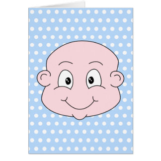 Cute Baby Boy, on blue polka dot pattern. Card
