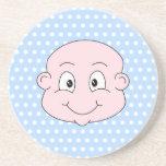 Cute Baby Boy, on blue polka dot pattern. Drink Coasters
