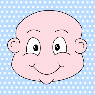 Cute Baby Boy, on blue polka dot pattern. Cutout