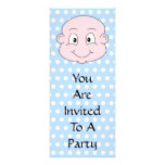 Cute Baby Boy, on blue polka dot pattern. Custom Announcement