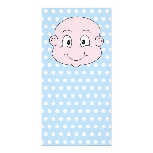 Cute Baby Boy, on blue polka dot pattern. Photo Card Template