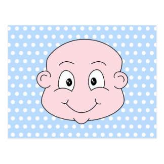 Cute Baby Boy, on blue polka dot pattern. Postcard