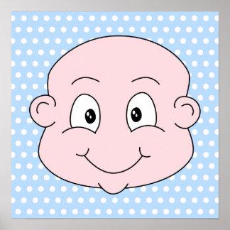 Cute Baby Boy, on blue polka dot pattern. Poster