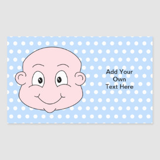 Cute Baby Boy, on blue polka dot pattern. Rectangular Sticker