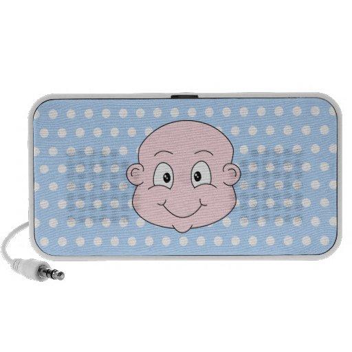 Cute Baby Boy, on blue polka dot pattern. iPod Speaker