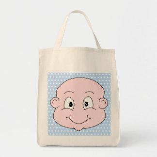 Cute Baby Boy, on blue polka dot pattern. Tote Bag