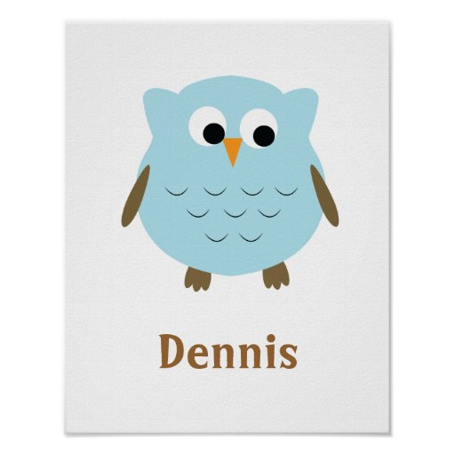 Cute baby boy owl nursery wall art poster