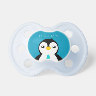 Cute Baby Boy Penguin with Blue Necktie Pacifier
