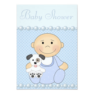Cute Baby Boy & Puppy Blue Baby Shower Card