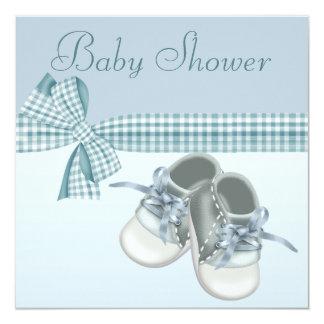 Cute Baby Boy Shower Blue Shoes & Elegant Ribbon 5.25x5.25 Square Paper Invitation Card