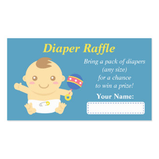 Cute Baby Boy Shower Diaper Raffle Tickets Double-Sided Standard Business Cards (Pack Of 100)