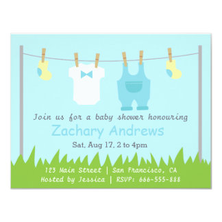 Cute Baby Boy Shower with Baby Clothes Card