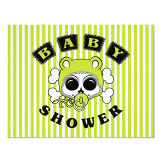 Cute Baby Boy Skull - Lime Green Card