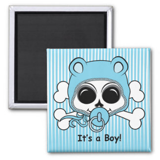 Cute Baby Boy Skull 2 Inch Square Magnet