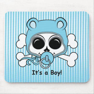 Cute Baby Boy Skull Mouse Pad