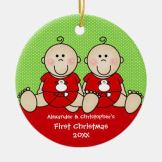 Cute Baby Boy Twin's First Christmas Ornament