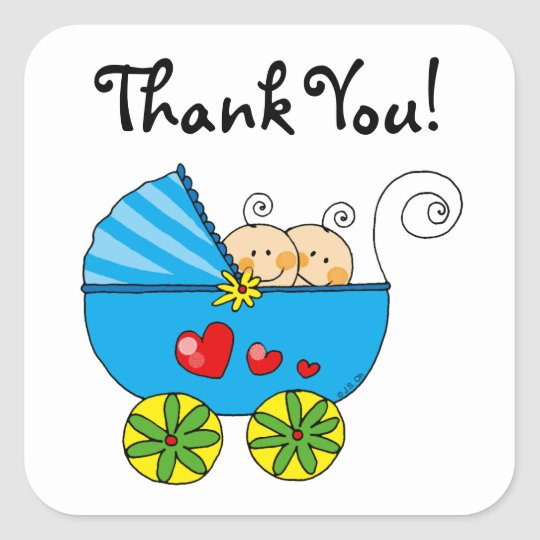 Cute baby boy twins thank you square sticker