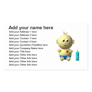 Cute baby boy with heart business card template